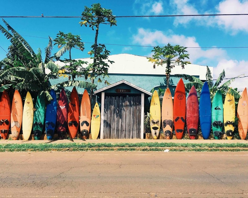 Surfboards on one of the best Hawaiian islands
