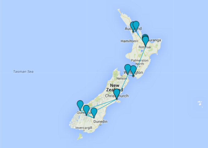 new zealand 2 week itinerary map