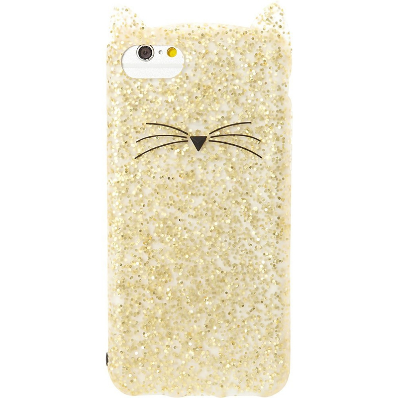 Top travel gift ideas and cat crazy: Kate Spade Gold Glitter Cat iPhone 7 Case