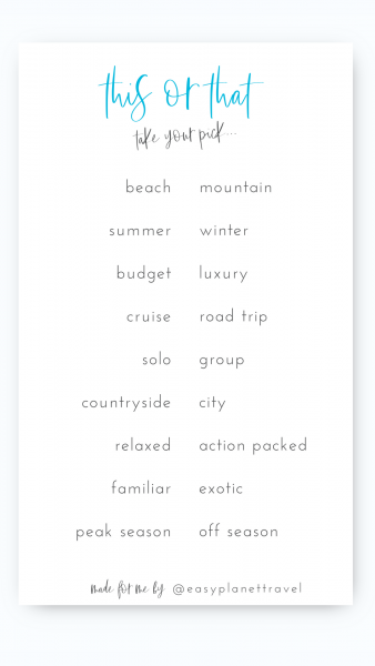 Travel Instagram Template This or That