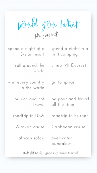 Travel Instagram Template Would you Rather