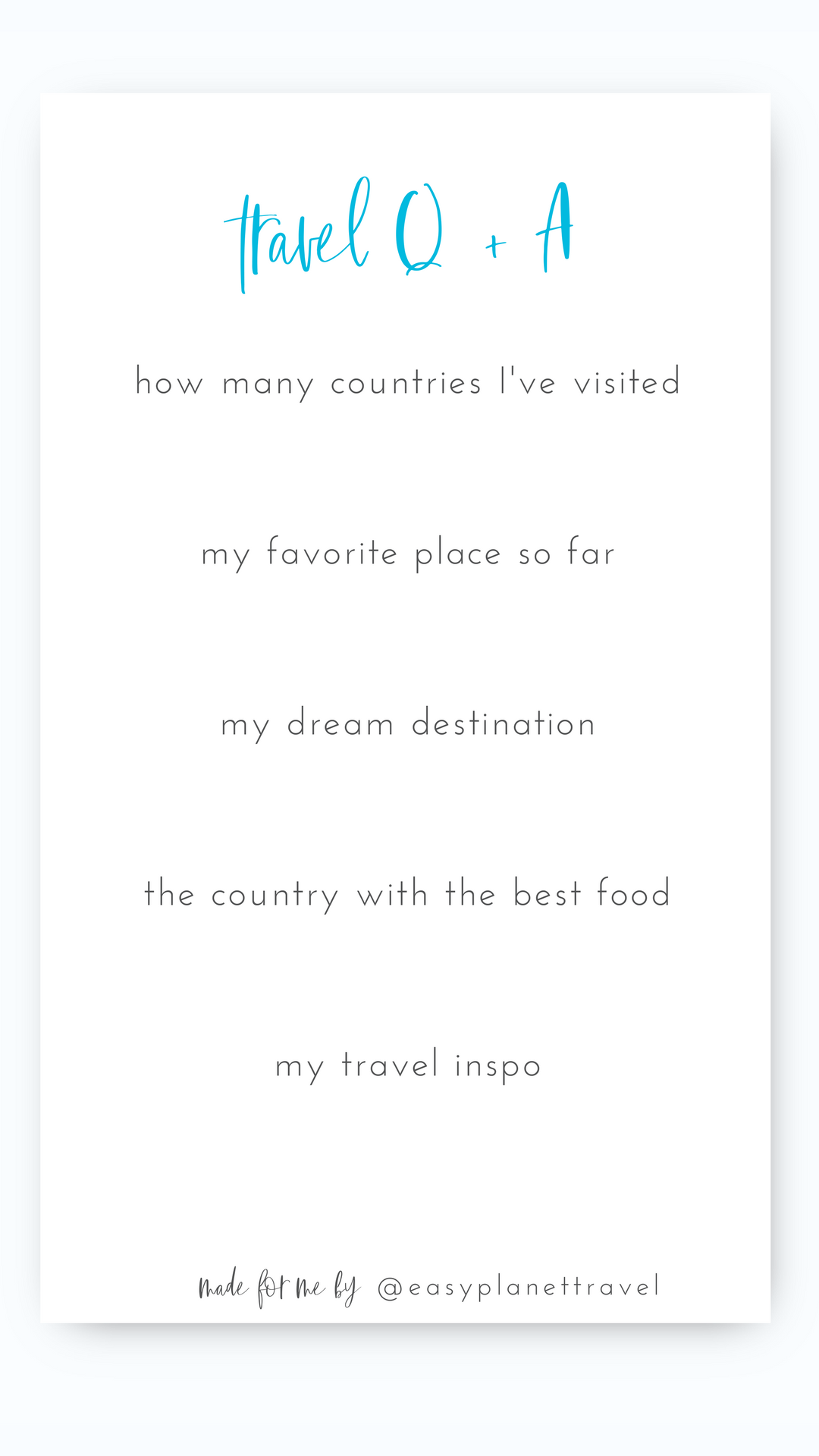 Travel Instagram Template Q and A - Easy Planet Travel