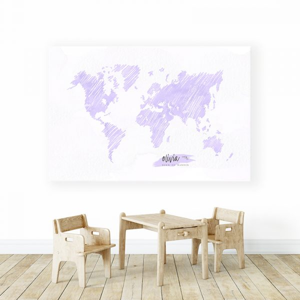 Personalized Sketch World Map Canvas