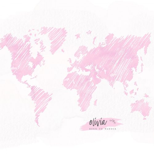 Personalized Sketched World Map in Pink