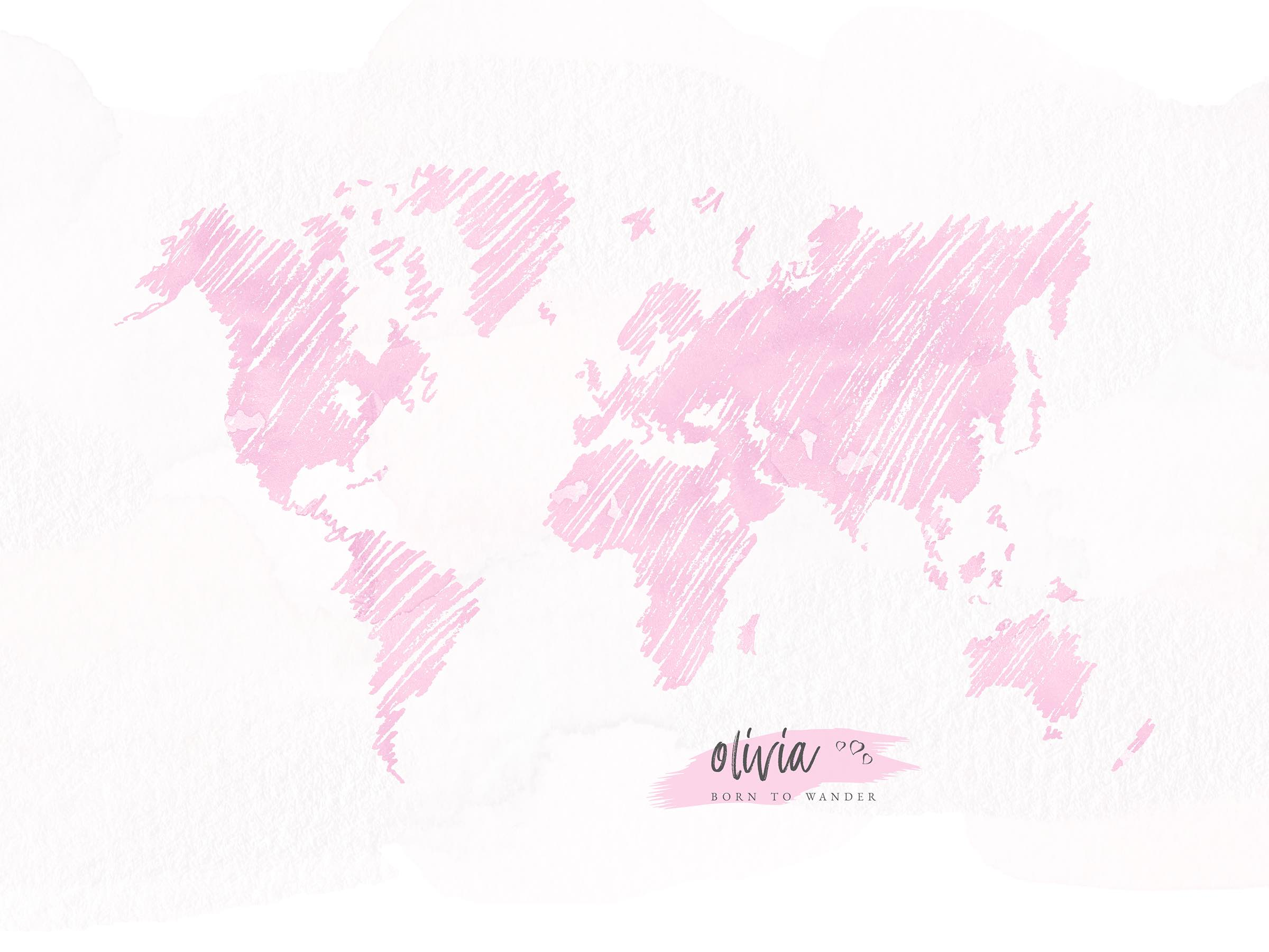 Personalized sketch world map poster easy planet travel personalized sketched world map in pink gumiabroncs Image collections