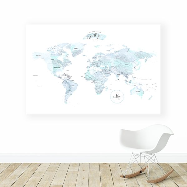 Personalized Detailed World Map Canvas