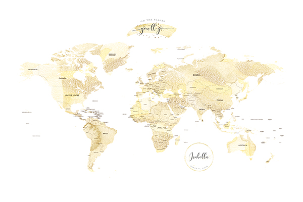 Personalized Detailed World Map Print Easy Planet Travel