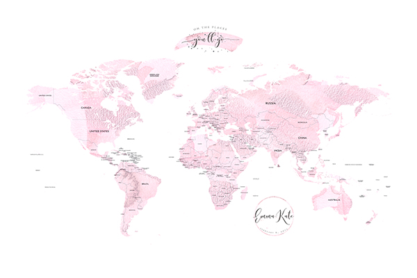 Personalized Detailed World Map Canvas - Easy Planet Travel