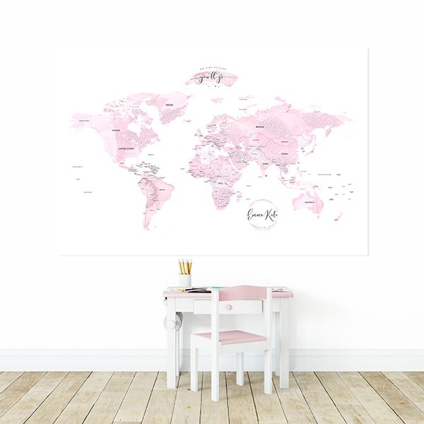 Personalized Detailed World Map Print