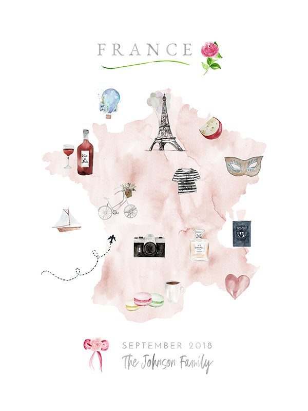 Personalized France Family Map in Blush