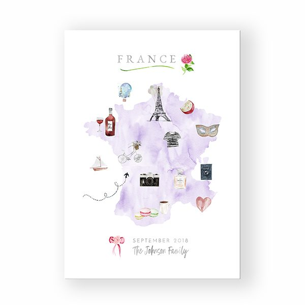 Personalized France Family Map Canvas in Lavender