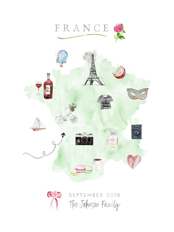 Personalized France Family Map in Mint