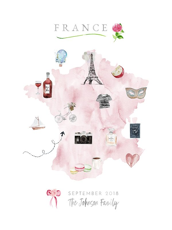 Personalized France Family Map in Pink