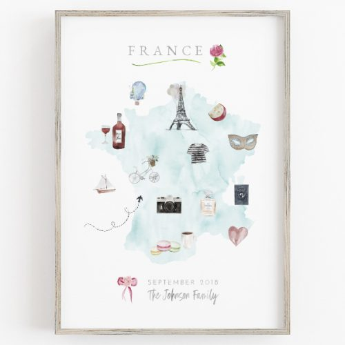 Personalized France Family Map Print in Aqua