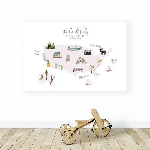 Personalized USA Map Canvas