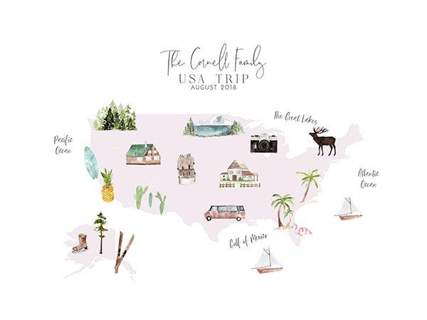 Personalized USA Map Print