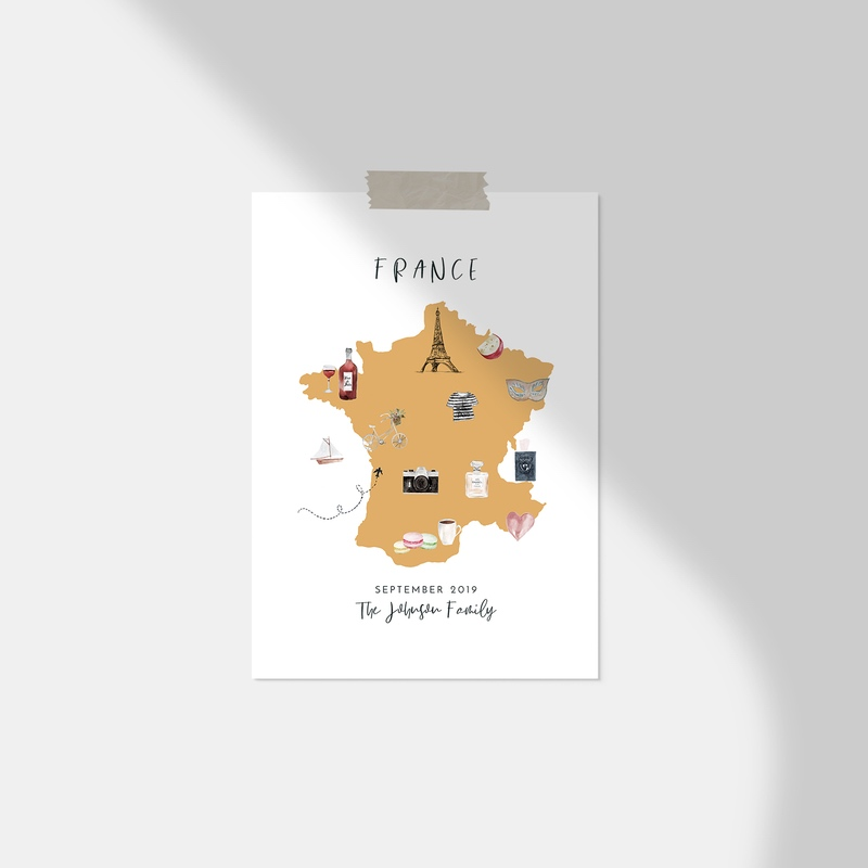 Personalized France Map Print