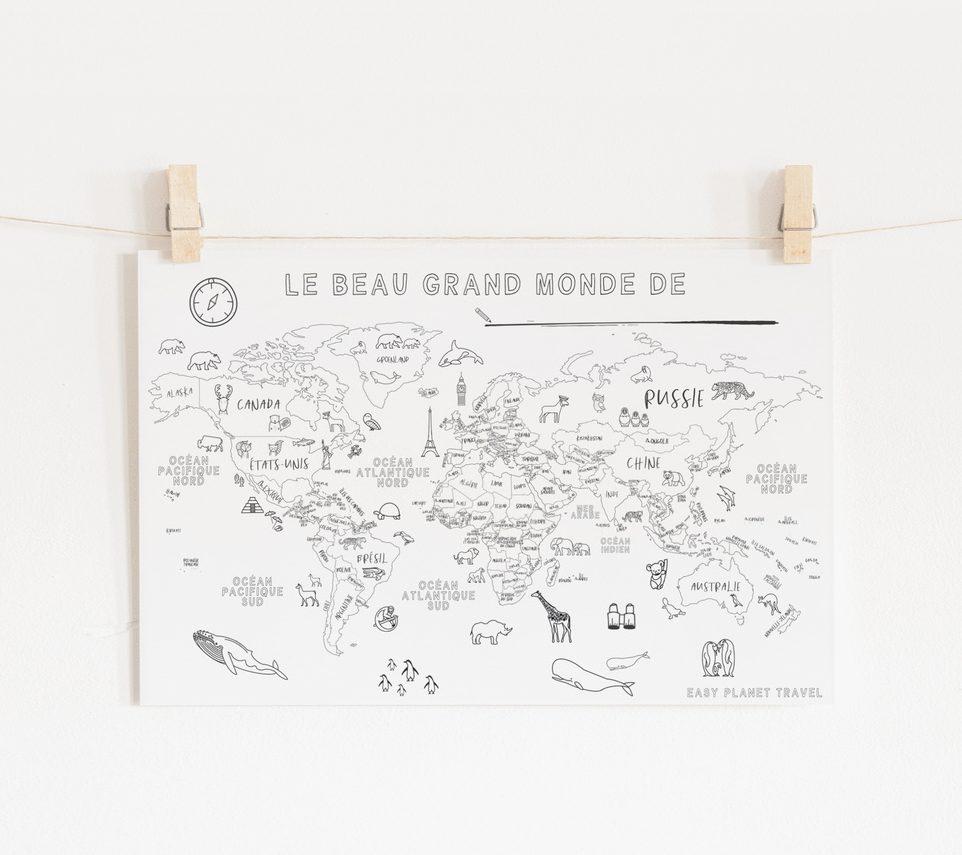 carte du monde coloriage Carte du monde à colorier, et à partager   Easy PlaTravel