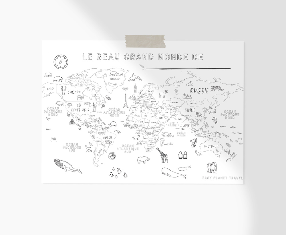 carte du monde coloriage Carte du monde dessinée à la main imprimable   Easy PlaTravel