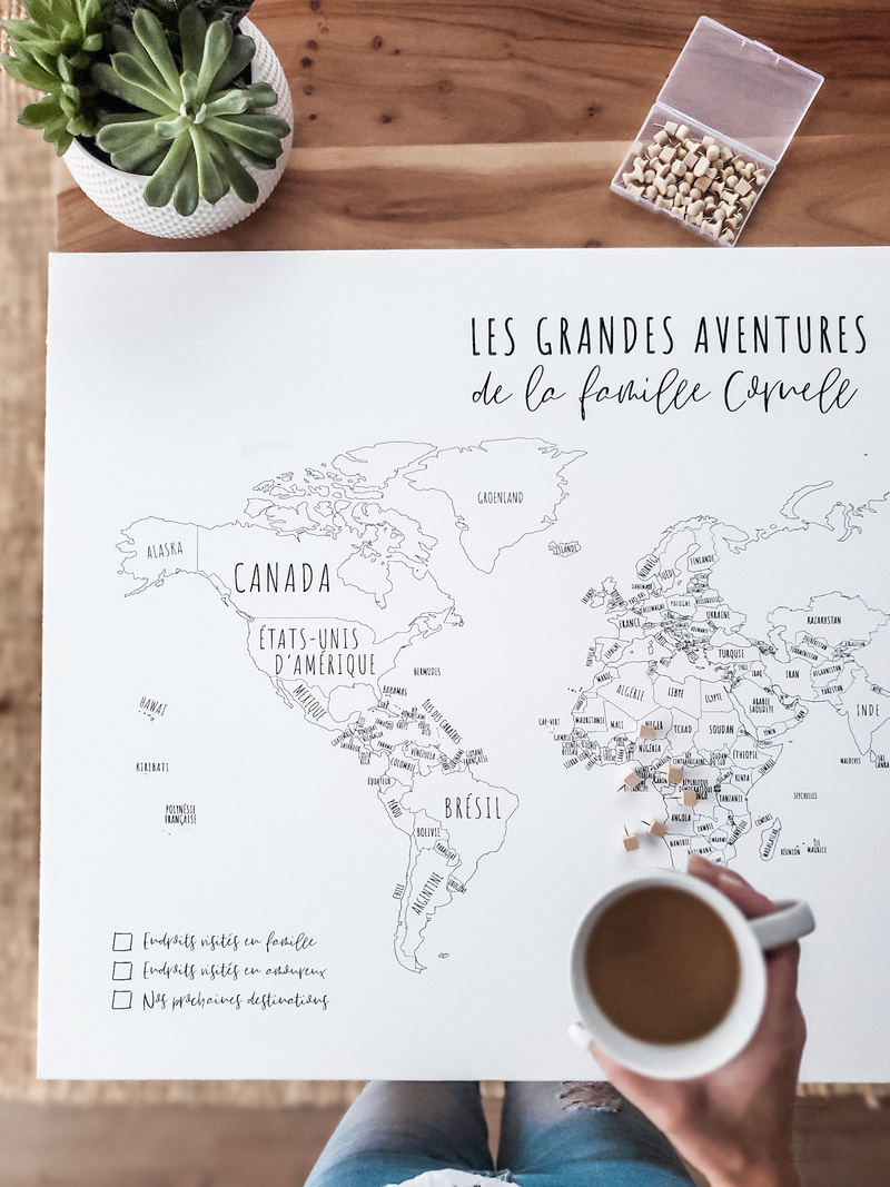 Personalized world maps with your name, the names of your children, or a quote that makes you dream!