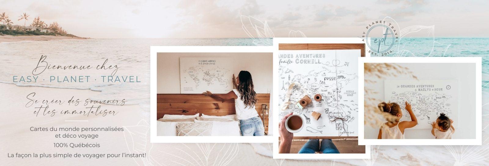 Idée cadeau personnalisé carte du monde par Easy Planet Travel
