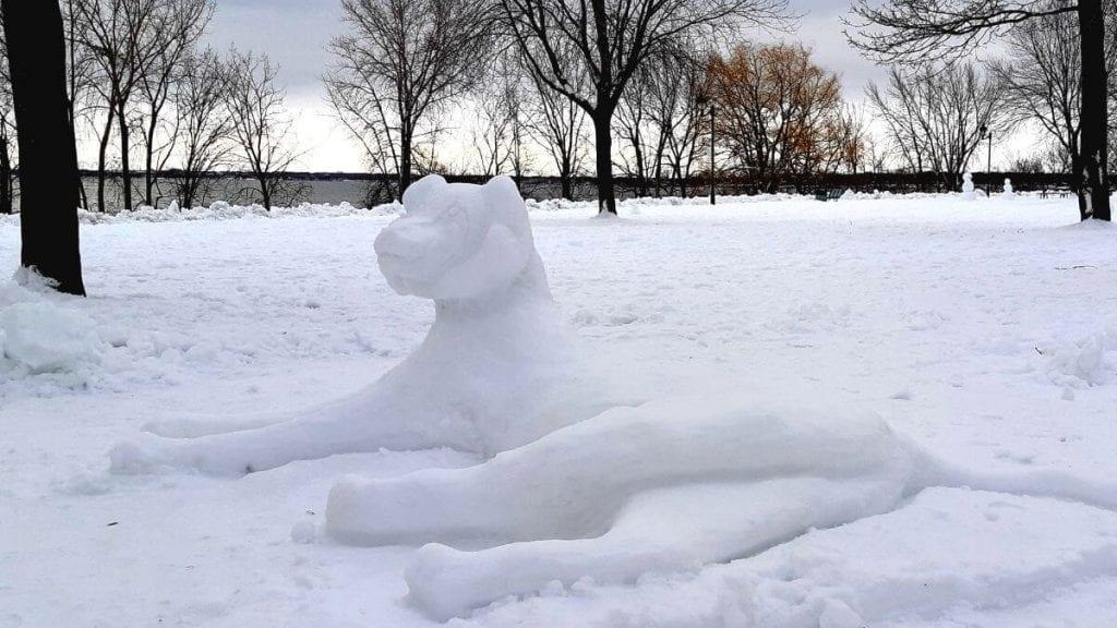 sculpture sur neige à Montréal