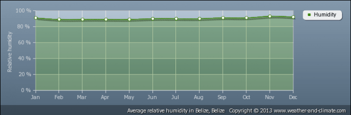 BELIZE average-relative-humidity-belize-belize