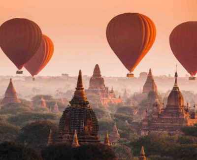 Take a hot-air balloon ride over Bagan, Myanmar