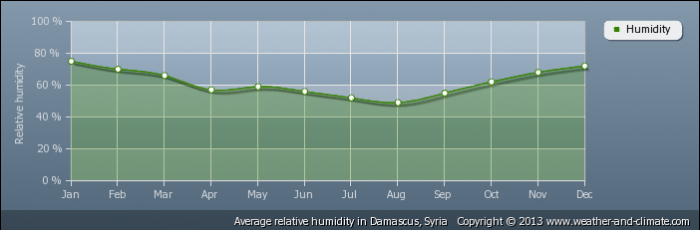 SYRIA average-relative-humidity-syria-damascus